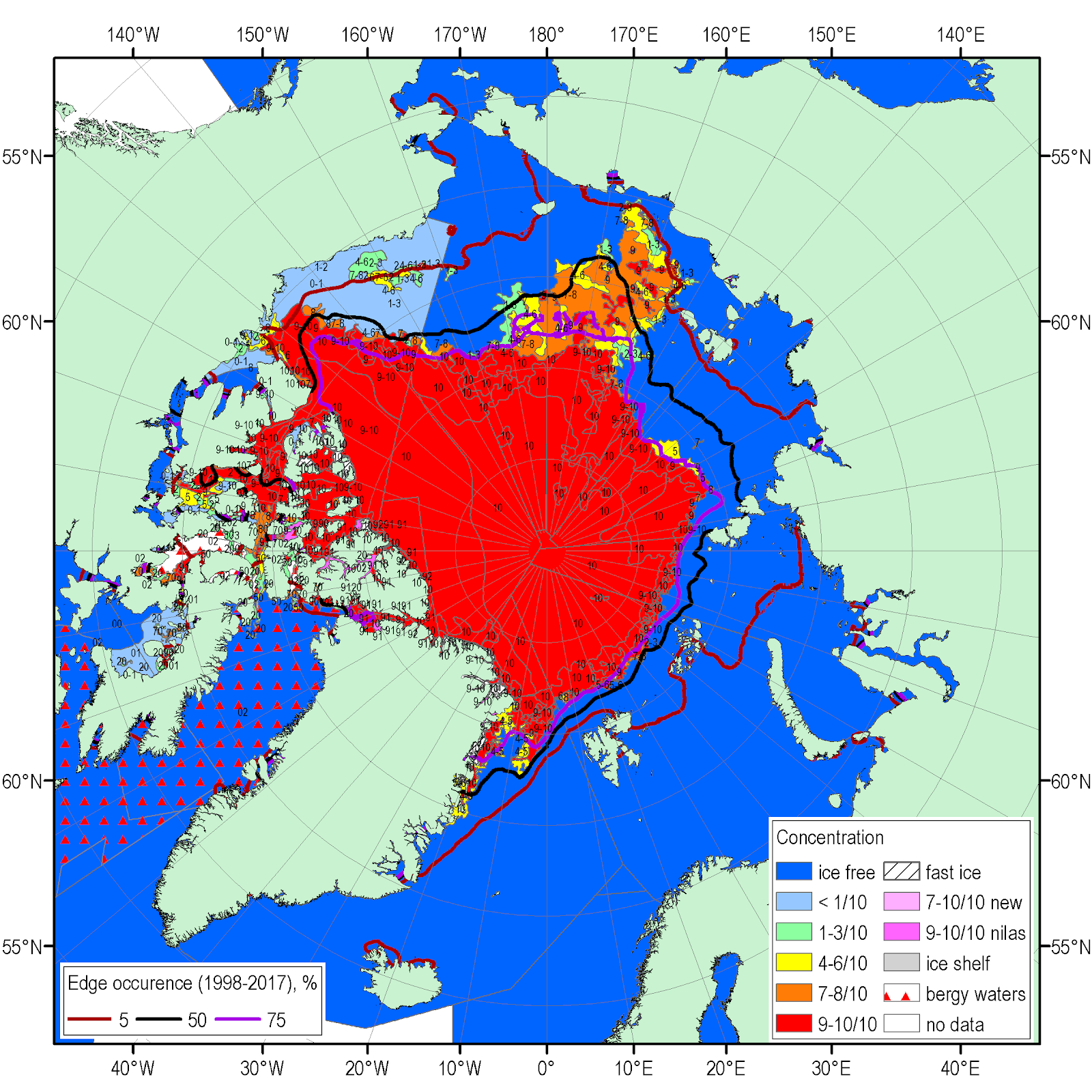sea ice summary june july august 2018