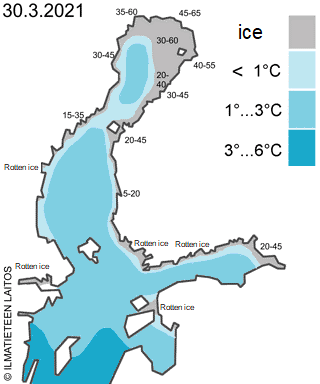 baltic sea ice and water temperature 31 March 2021