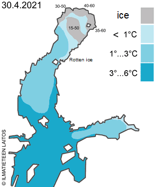 baltic sea ice and water temperature 30 April 2021